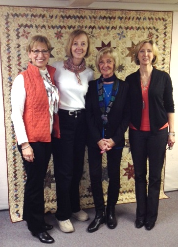 (l. to r.: Stephanie Dell 'Olio, President, Marcus Fabrics' Retail Division; Mary ellen vonHolt, shop owner; Judie Rothermel; Pati Violick, Marcus Fabrics' Director of Marketing