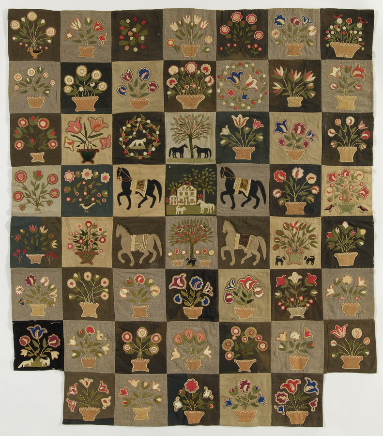 Pictorial Quilt, 1861–65 Attributed to Emily L. Wiley Munroe Lynnfield, Massachusetts Wool and cotton; pieced, appliquéd, embroidered Emily Munroe watched four of her six brothers enlist in the Union army: Daniel and Joseph together in the infantry, then Charles and 16-year-old Zachary in a cavalry unit. Many women like Emily who sent loved ones to war suspected that their suffering was one more emotion that knew no sectional boundaries, but was a bond common to North and South. In the end, unlike so many others, Emily could rejoice. All four of her brothers came home. New England Quilt Museum, Lowell, MA, 2000.2 Phoro: Massachusetts Quilt Documentation Project