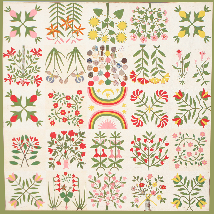 "Botanical Album Quilt, 1859 Made by Esther Matthews (1776–1866) for Addison Blair Martz (1834–63) Virginia Cotton; pieced, appliquéd, quilted The rhetoric of secession created conflicts for Southerners whose loyalties were torn between state and country. Esther Mathews placed 23 flowers native to her Virginia home around a ""Tree of Liberty"" with 30 apples. (There were 30 states between 1848 and 1851.) Did Esther make the quilt to express her loyalties during the crisis of 1850? Did she give it to her grandson Addison to remind him of those sentiments? Addison enlisted in the Confederate army. He died of wounds received at the battle of Chancellorsville. Virginia Quilt Museum, Harrisonburg, VA, 2006.001.001"